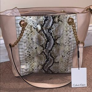Calvin Klein new tan snakeskin bag.
